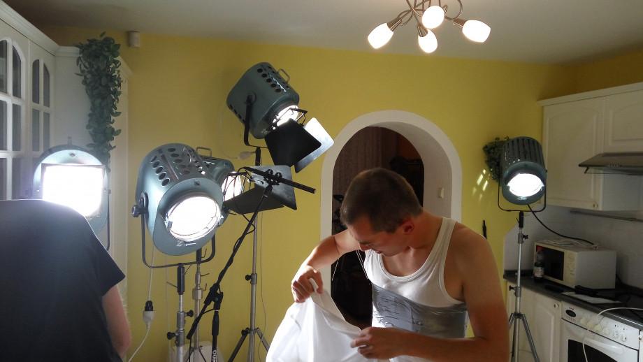 Snímek z natáčení filmu Trojče
